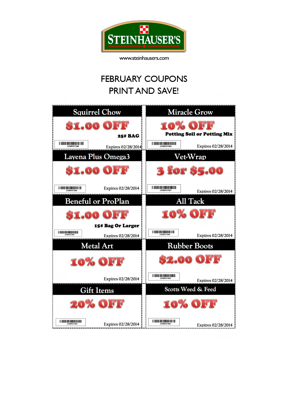 February Special Coupons Steinhauser 39 S