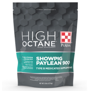 Purina High Octane Showpig Paylean 900 Medicated Supplement. Grey and teal 10-lb pouch.